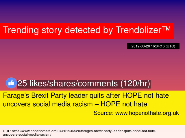 Farage's Brexit Party leader quits after HOPE not hate